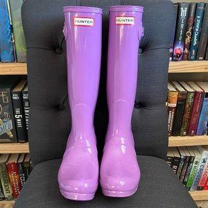 Hunter Original Tall Solid Purple Rainboots Size 7